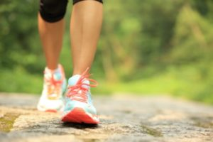 Walking to help lower high blood pressure.